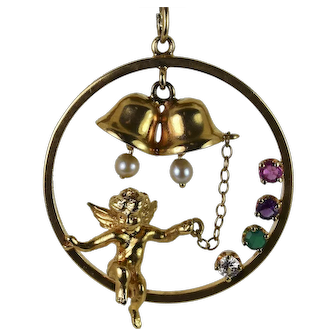 Estate Jewelry Yellow gold Angel/bells Pendant, Pre-Owned