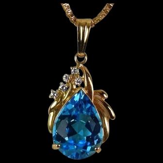 Large Pear Blue topaz /Diamond pendant, Vintage Cir1970-1980'