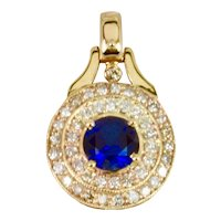 A Stunning Hand Made Lady's Diamond and Sapphire Pendant in 14k Yellow Gold