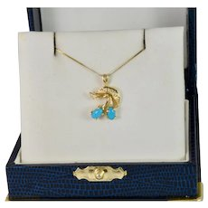 Elegant Diamond and Turquoise Pendant necklace in 14k Yellow Gold