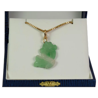 Green and White Jade (jadeite) Pendant in 14kt Circa 1970s – 1980's