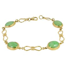 Exquisite Multi. Jade (Natural Jadeite) Bracelet in 14k Yellow gold Created by Thomas T.