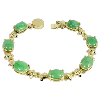 One of a Kind Custom Made Jade (natural jadeite) bracelet in 14k Yellow Gold