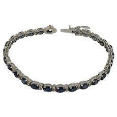 18k White Gold Diamond and Sapphire Tennis Bracelet Estate Jewelry