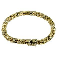 14k Yellow/White Gold Vintage Bracelet, Estate Jewelry