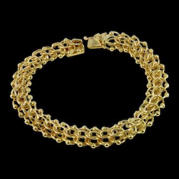Beautiful Vintage Estate Heavy Double Interlocked Links Charm Bracelet in 14k Yellow Gold