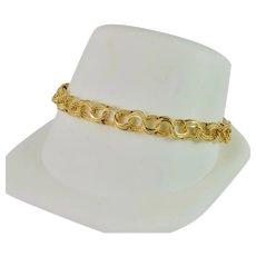 14k Solid Yellow Gold Charm Bracelet Fancy Links 7 1/2 Inches