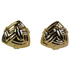 Chic Omega Back Earrings, 14 karat, Pre-Owned