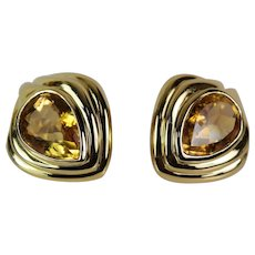 Hand-Made Custom 14k Yellow Gold / Yellow Topaz Earrings