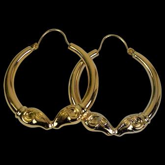 Vintage 14k Kiss Ram Hoop Earrings, Pre-Owned