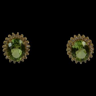 Halo 14k Peridot/Diamond Earrings