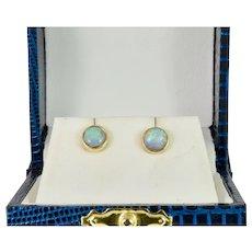 Classic Bezel Set Round Opal Stud Earrings