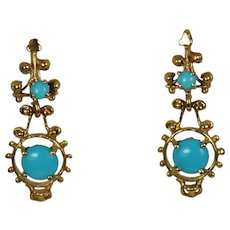 Lady 14k Turquoise Drop Earrings, Vintage Fashion