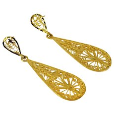 14 karat Yellow Gold Stunning Dangle Earrings Vintage