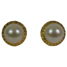 18kt Yellow Gold Classic Cultured Pearl Earrings, Estate Jewelry