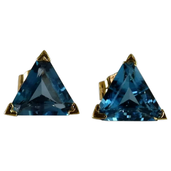 Lady 14k Yellow Triangle, Faceted Cut Blue Topaz Earrings