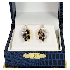 Sapphire and Diamond Earrings in 14k Yellow/White Gold