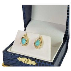 Turquoise and Diamond Earrings in 14k Yellow Gold