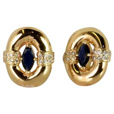 Hand Made Diamond and Sapphire Earrings in 14kt