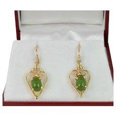 Vintage Nephrite Jade Earrings in 14k Yellow Gold