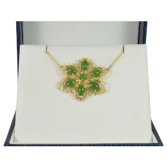 Filigree Design Nephrite Green Jade Necklace in 14k Yellow