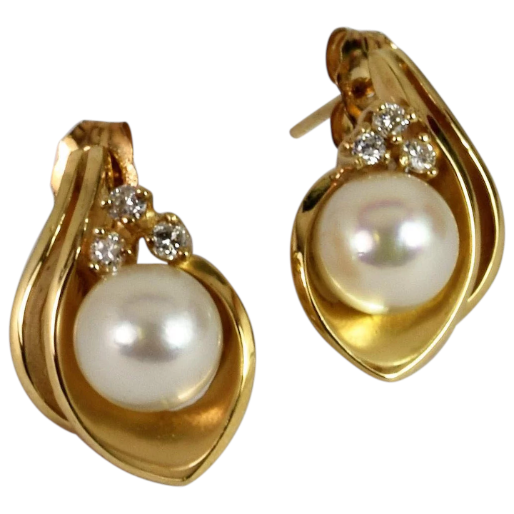 53fadfa84 Gorgeous Pearl and Diamond Stud Earrings Vintage Jewelry : Thomas T  Collection | Ruby Lane