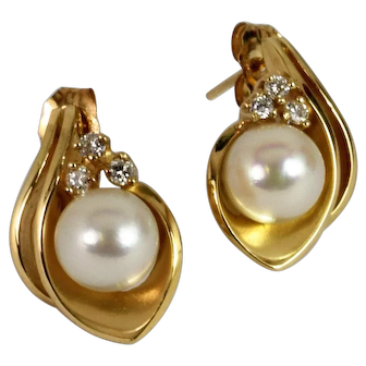 Gorgeous Pearl and Diamond Stud Earrings Vintage Jewelry