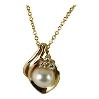 Gorgeous Cultured Pearl and Diamond Necklace, Vintage jewelry