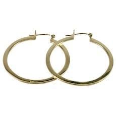 Hand-made Large Hoop Earrings in 14k Yellow Gold