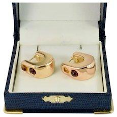 Fancy Color Gems Hoop Earrings in Rose Gold Estate Jewelry
