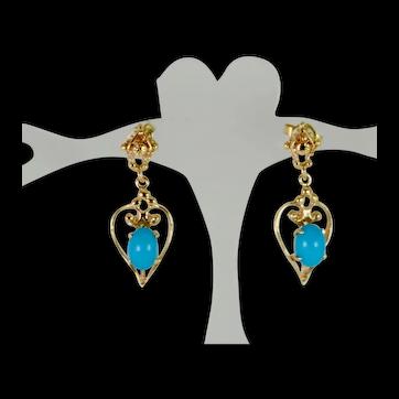 Elegant Vintage Sleeping Beauty Turquoise Dangle Earrings in 14k Gold