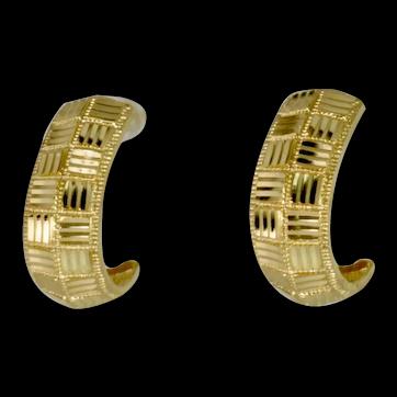 Diamond Cut Half Hoop Earrings in 14k Yellow Gold, Vintage