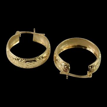 Stunning Vintage Hoop Earrings in 10k Yellow Gold