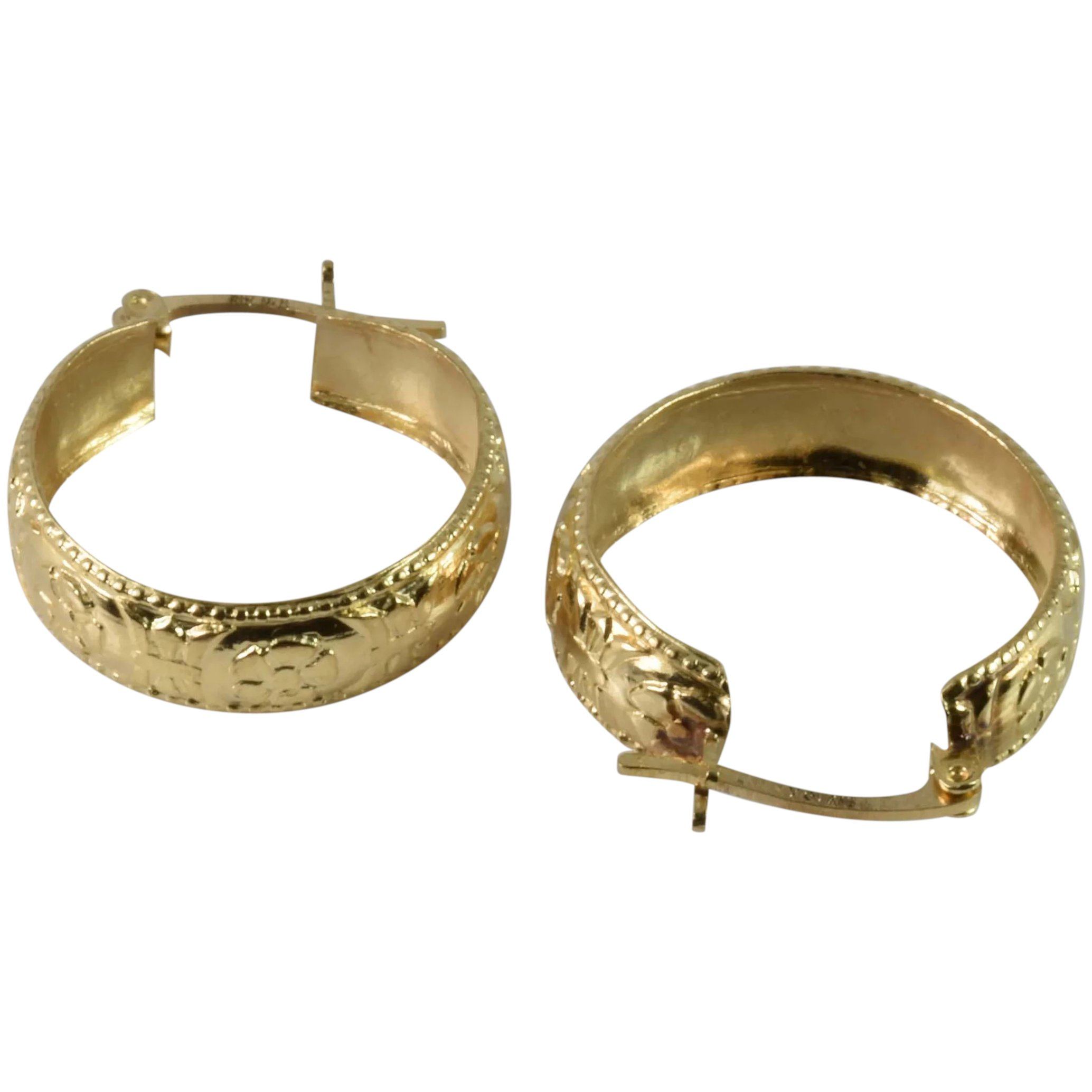 10KT 10K  Gold Etched Hoop Earrings Design Post Earrings Estate Find Stamped Vintage Fine Jewelry Gift Ideas Mothers Day
