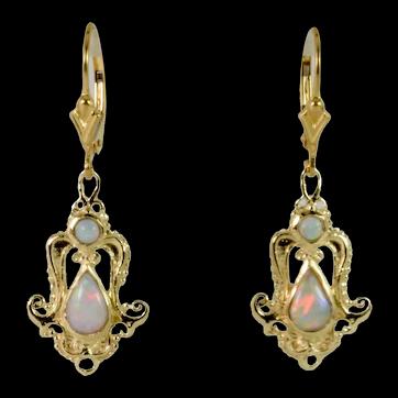 Elegant Vintage Natural Opal Dangle Earrings in 14k Yellow Gold