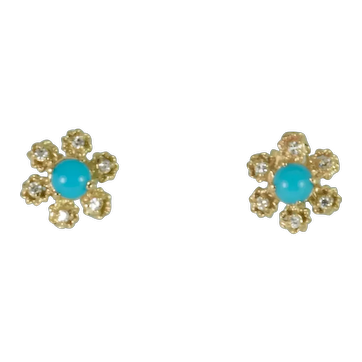 Antique Style Diamond and Turquoise Earrings in 14k Yellow Gold