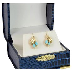 Natural Marquise Cut Turquoise Earrings in 14k Yellow Gold