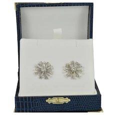 Gorgeous Starburst Diamond Earrings in 14k White Gold