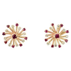 Diamond and Ruby Starburst Earrings in 14k Yellow Gold