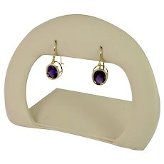 Classic Dangle Oval Amethyst Earrings in 14k Yellow Gold