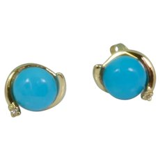 Round Turquoise/Diamond Stud Earrings in 14k Yellow Gold