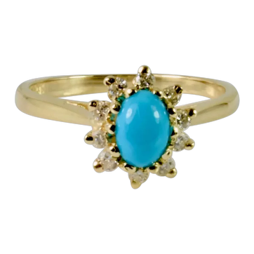 Lovely Vintage 14k Yellow Gold Diamond and Turquoise Ring