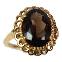 Vintage Lady 14k Yellow Smoky Quartz Ring