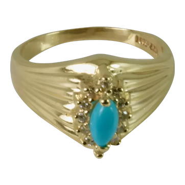 Natural Turquoise (Arizona) and Halo Diamonds Ring in 14k Yellow Gold