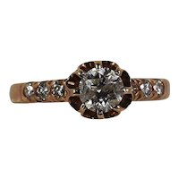 Custom made Lady's French Antique style in 14k Rose Gold Diamond ring
