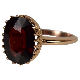 14k Rose Gold Oval Garnet Ring