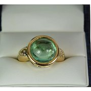Vintage Lady 14k Yellow Gold Diamond/Topaz ring, Pre-Owned