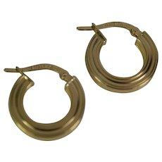 18k Yellow Gold hoop Earrings, Pre-Owned