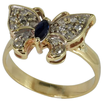 Vintage Butterfly Ring with Diamond/Sapphire in 14kt Yellow Gold