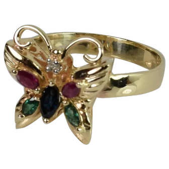 Exquisite Vintage Butterfly Ring in 14k Yellow Gold